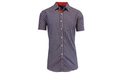 Harvic Men's Short Sleeve Button Down - Navy/Grey - Size: XL