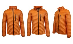 Spire by Galaxy Men's Lightweight Puffer Jacket - Black/Orange - Size: 2XL