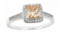 18kt White Gold Plated Princess Cut Ring - Champagne - Size: 7