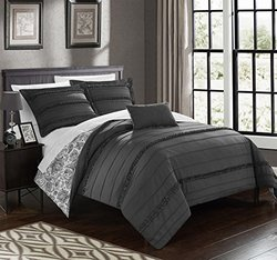 Chic Home 4 Piece Eliza Pleated And Ruffled Reversible Paisely Floral Print Duvet Cover Set Shams And Decorative Pillows Included, Queen, Grey