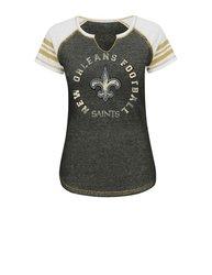 VF LSG NFL Women's Split Crew Neck Tee - C Blurry/White/H Gold - Size: L