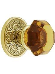 Emtek Lancaster Rosette Set With Amber Crystal Knob - Polished Brass