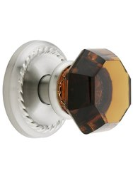 Emtek Classic Rope Rosette Set with Amber Crystal Doorset - Satin Nickel