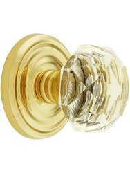 Emtek Classic Set with Diamond Crystal Door Knobs Dummy - Polished Brass