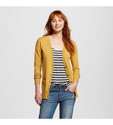 Mossimo Women's Long Sleeve Boyfriend Cardigan - Yellow - Size: XL