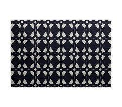 E By Design Geo-Craze Geometric Print Outdoor Rug - Navy - Size: 5' x 7'