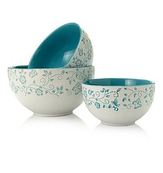 Cook's Companion 3 Piece Ceramic Mixing Bowl Set - Blue - Size: One