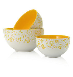 Cook's Companion 3 Piece Ceramic Mixing Bowl Set - Yellow - Size: One