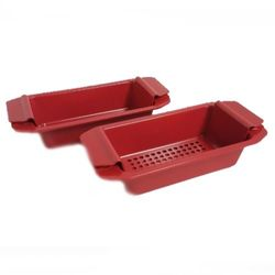 Cook's Companion Nonstick Set of Two Loaf Pans - Red