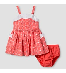 Oshkosh Girl's Scallop Neck Dress - Coral - Size: 12 Month