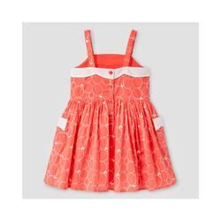 Oshkosh Girl's Scallop Neck Dress - Coral - Size: 4T