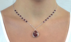 Golden Moon 10.00 CTW Beaded Gemstone Drop Necklace - Red Agate