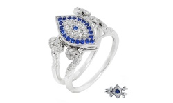 Evil Eye Reversible Flip Ring In Sterling Silver: Blue Cz Eye/9