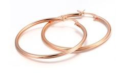 French Lock Hoop Earrings - Rose Gold