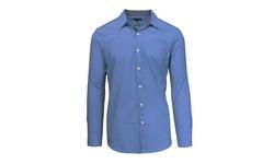 Galaxy By Harvic Men's Long Sleeve Gingham Plaid Shirt - Navy - Size: L
