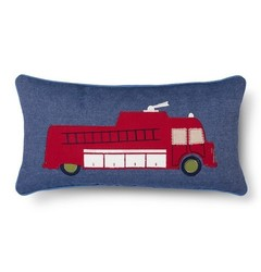 """Sheringham Road Nathan Fire Truck Decorative Pillow - Red - Size: 12""""x24"""""""