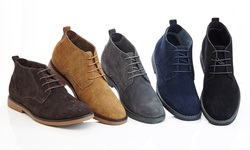 Men's Leather Suede Boots: Navy/size 9.5