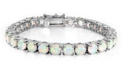 15CTTW White Opal Round Tennis Bracelet