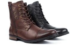 Men's Combat Fashion Boots: Brown-10