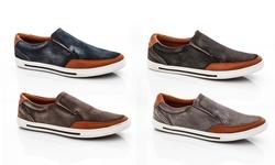 Franco Vanucci Men's Slip On Sneaker: Black/10