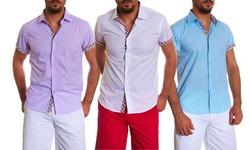 Suslo Couture Men's Linen Button-Down Shirt - Leno/Turquoise - Size: Large