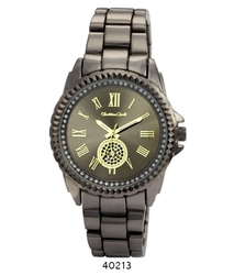 Montres Carlo Women's Gunmetal Band Wristwatch (40213)