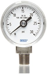 Wika Industrial Pressure Gauge Liquid/Refillable Wetted Dial - Size: 4""