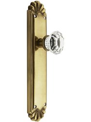Emtek Trenton Door Set with Crystal Knob Glass Door -Privacy Antique Brass