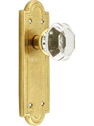 Emtek Belmont Plate Set with Old Crystal Door Knob -Dummy Polished Brass