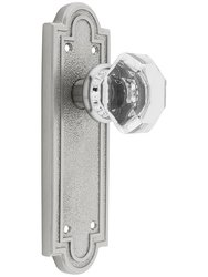 Emtek Belmont Plate Set with Old Crystal Door Knob -Passage Satin Nickle
