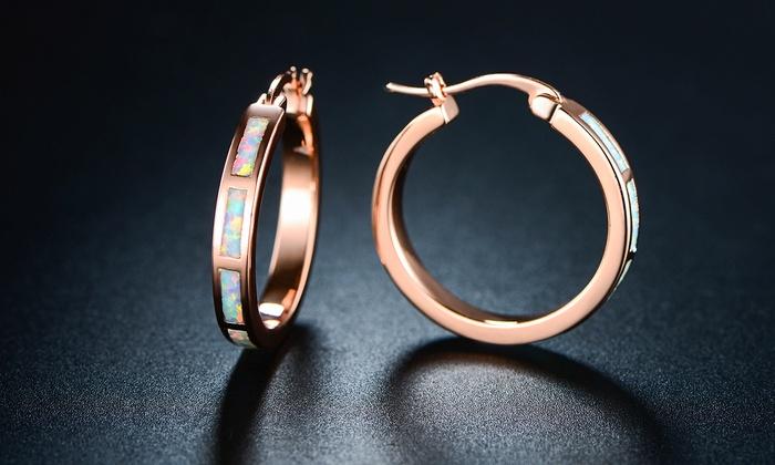 f5357d1cb Women's 18K Rose Gold Plated Fire Opal Hoop Earrings - Check Back ...