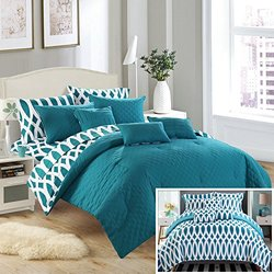 Chic Home 8 Piece Holland Diamond Quilted Embroidered With Contemporary REVERSIBLE printed backside Twin Bed In a Bag Comforter Set Teal Includes 3 Piece Sheets Set