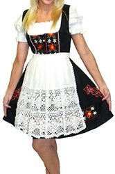 Dirndl Trachten Haus 3 Pcs Oktoberfest Waitress Dress - Black - Size: 14