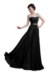 DLFASHION Scoop Neck Sweep Train Beaded Chiffon Prom Dress XL-16 Black
