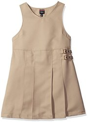 French Toast Big Girls' Double Buckle Tab Jumper, Khaki, 8