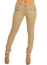 Womens Juniors Mid-Rise One-Button Skinny Twill Pants (Khaki) 10711L