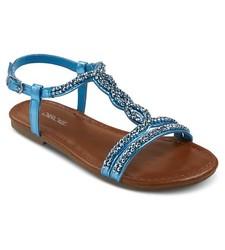 Cherokee Girl's Britt Jeweled Slide Sandals - Turquoise Size: 3