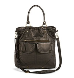 Mossimo Women's Distressed Solid Triple Handle Tote Handbag - Black