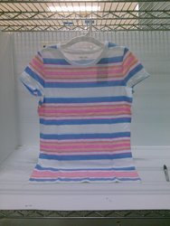 Cherokee Girls Striped Scoop Neck T-Shirt - Blue - Size: XXL (18)
