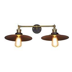 LNC Edison 2 Light Edison Vintage Style Wall Lamp - Black