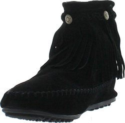 Refresh Jolin-01 Women's Fringe Moccasin Strappy Flat Heel Zipper Ankle Booties,black,7.5