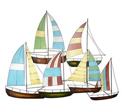 "Ten Waterloo Sailing Boat Metal Wall Sculpture - Size: 33"" x 26"""