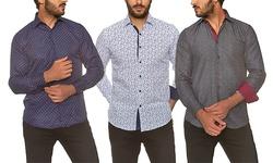 Azaro Uomo Men's Button Down Shirt: White-saka / Large