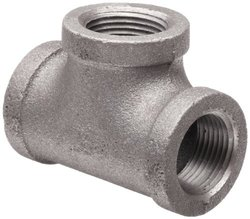 """Anvil Malleable Iron Pipe Fitting Tee - 4"""" NPT Female - Black Finish"""