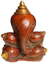 "Exotic India 7.5"" x 5"" x 4"" Conch Ganesha Brass Sculpture Figurines"