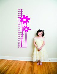 "Design with Vinyl Flower Growth Chart Vinyl Wall Decal Sticker - 12""X36"""