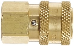 "EH 2S16SL 1/4""-18 NPTF Brass Straight Through Ball Lock Hydraulic Fitting"
