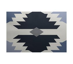 E By Design 5' x 7' Mesa Geometric Print Outdoor Rug - Navy Blue