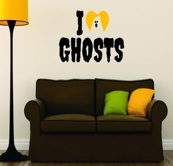 """I Love Ghost Halloween"" Picture Art Sign Decal - 20""x40"""