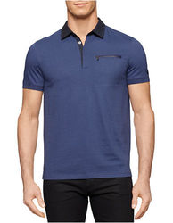 Calvin Klein Men's Jersey with Woven Collar Polo - Blue Lake - Medium